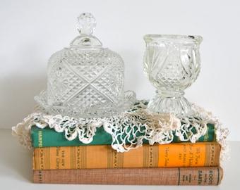 Vintage Cottage Chic Glass Set. Cut Clear Textured Pair Dome, Plate & Cup w/ pedestal base. Home Decor Decoration Shelf Piece Display