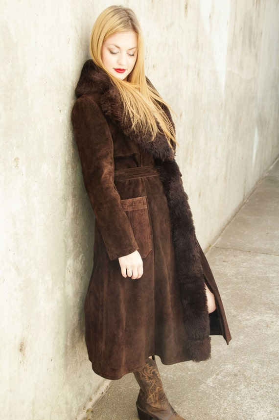 Vintage coat brown suede leather swing wrap long jacket