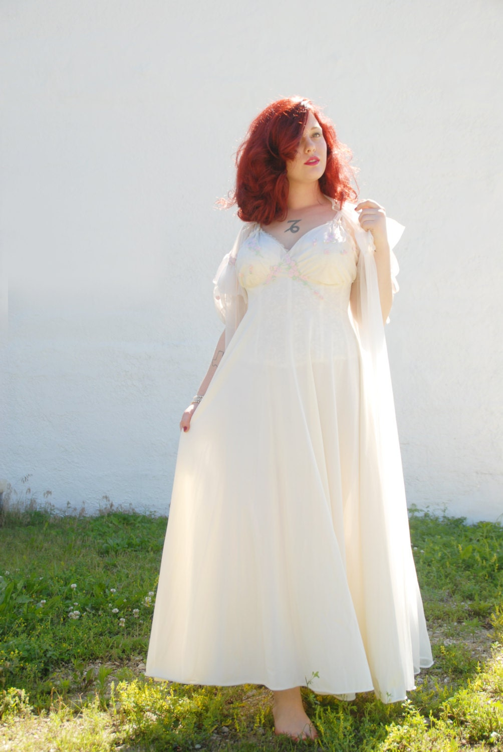 Vintage 1950s Dress White Pin Up Nightie Two Piece Long