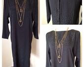 Black Buttondown V Back Dress with Leopard Spot Detail - Knee Length Black Silky Dress - Long Sleeve - Animal Print - Pockets - Small Medium