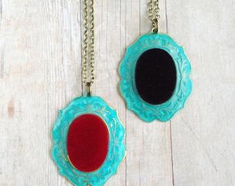 Red Velvet Necklace Verdigris Patina Jewelry
