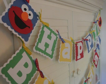 Elmo Birthday Banner/ Customized in any color combination/ Red/ Yellow/ Green/ Blue/ Party Banner/1st Birthday Banner/Garland