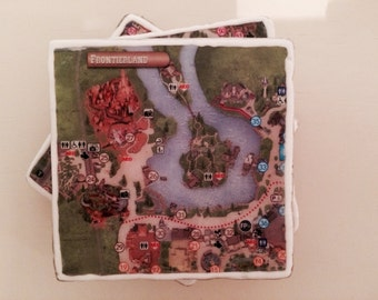 Inspired by Disney  4 Magic Kingdom Map Coasters