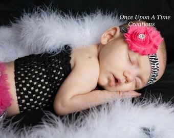 Single Hot Pink Zebra Shabby Flower Headband - Birthday, Photo Prop, Gift - Newborn Infant Baby Child Girls Bow - Zebra Hair Accessories
