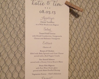 Custom Wedding Menu, Tea Length