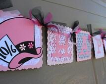 Alice In Wonderland Pink UnBirthday Party - Pink UnBirthday Banner - Pink  Mad Hatter Birthday Banner - Pink Tea party Birthday  Banner