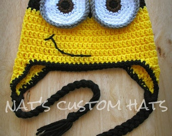 Crochet PATTERN Minion Hat PDF File Instant Download - All Sizes Included