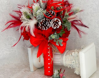 Winter Wedding Bouquet - Red Bridal Bouquet -Holiday Wedding Bouquet- Red Bridal Bouquet- Rustic Winter Wedding- READY TO SHIP