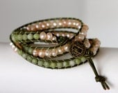 jade and pearl leather wrap bracelet, olive green beaded wrap bracelete, high end hand made designer jewelry by girlthree