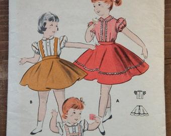"1950's Butterick Girl's Dress pattern - Breast 23.5"" - No. 8250"