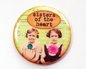 Pocket mirror, purse mirror, Sisters of the heart, gift for best friend, gift for girlfriend, green, retro, like a sister (3639)