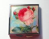 Square Pill case, Pill Case, Pill Box, Flower pill case, Flower pill box, 4 Sections, Rose, Pink, Blue, floral case (4321)