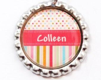 Personalized Bookmark, bookmark, custom bookmark, You Select Color, Stocking Stuffer, gift for teacher, Polka dot (3322)