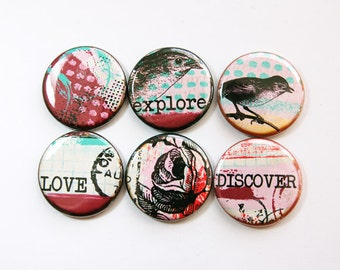 Magnet set, Magnets, button magnets, Fridge Magnets, Kitchen Magnets, Abstract design, Explore, Discover, Love, Birds, Flowers (3652)
