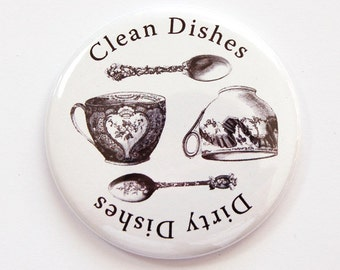 Clean Dishes, Dirty Dishers, Magnet, Dishwasher magnet, kitchen magnet, clean dishes magnet, Kitchen, KellysMagnets (3782)