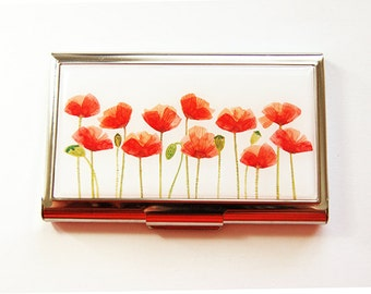 Flower card case, Business Card Case, Poppy, Card case, Floral Card case, Flowers, Floral, business card holder, Red, Poppies (4209)