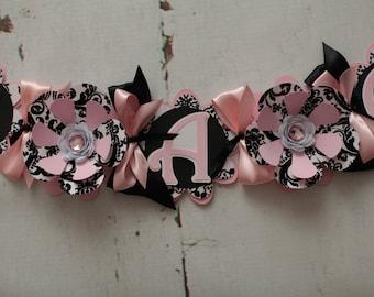 It's a Girl Baby Shower Banner Light Pink, white, Black, Flower, Damask