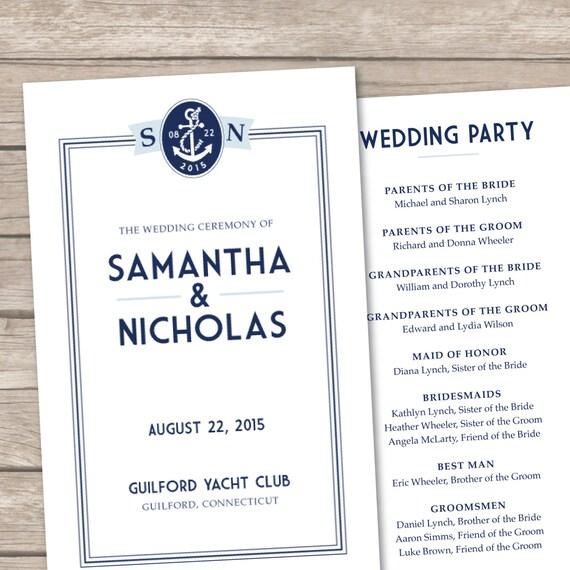 Nautical Chic Printable Wedding Program - DIY Ceremony Program - Navy, Blue, Beach, Destination