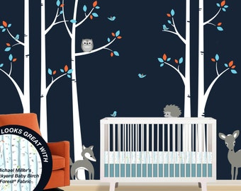 Birch Tree Wall Decal Set - Baby Room - Nursery Woodland Forest Decals with Fox, Hedghog, Owl and Deer - Matches Woodland Crib Bedding