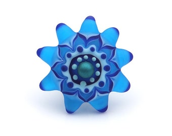 Etched Blue Lampwork Glass Starburst Ring or Pendant Changeable Top Set