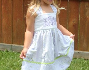 Lavender Monogrammed Sundress for girls sizes 2 thru 6