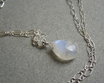 Rainbow Moonstone Pendant- Modern Bridal Necklace- Wedding Jewelry- Delicate Sterling Silver Chain