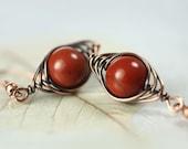 Red Jasper Earring in Herringbone Copper Wire