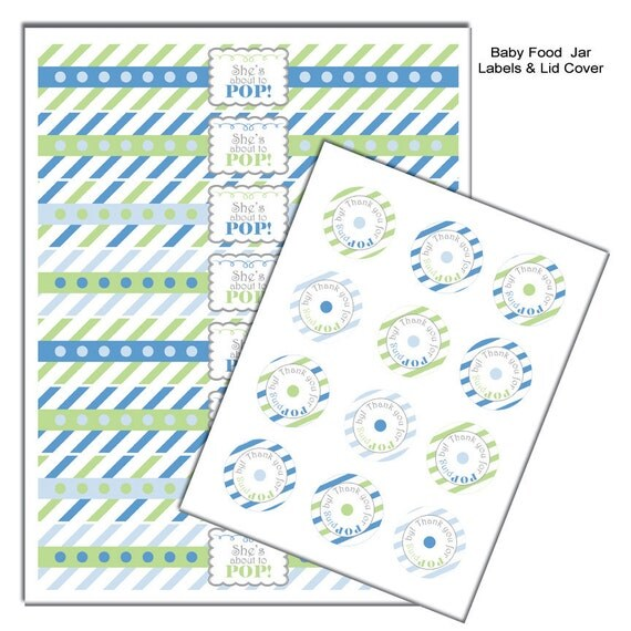 about to pop baby food jar labels baby shower favors baby shower