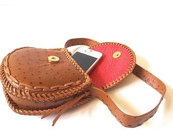 Vintage Faux Ostrich Leather Handbag