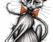 Scratchy cat Print download Naughty pet kitty moggie pussycat with cheeky face wearing comedy orange bow tie who likes scratching things