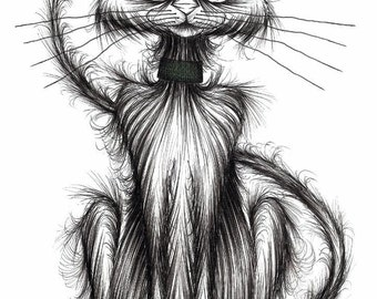 Norman the cat Print download Slim pet puss kitty with a long thin tail and slightly startled expression on his face Funny animal picture