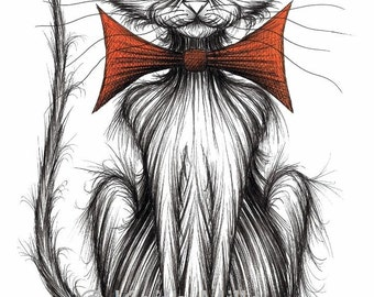 Jasper the cat Print download Posh looking pet kitty puss wearing extra large bow tie Trendy fashionable pussycat who's very important