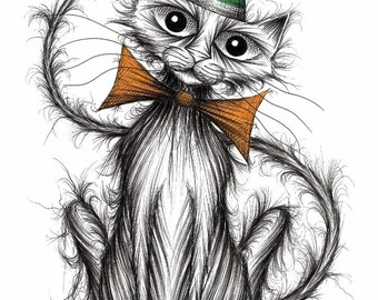 Colin the cat Print download Lovely cute little pet puss kitty with a long thin tail wearing a funny striped hat and trendy bow tie