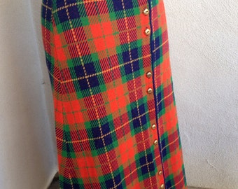 Vintage groovy neon plaid maxi long skirt with button front by LOVE BUG