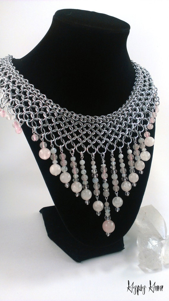 Stunning Chainmaille Collar Goddess Necklace with Rose Quartz, Rainbow Moonstone, Quartz Crystal, and Faceted Glass Beads