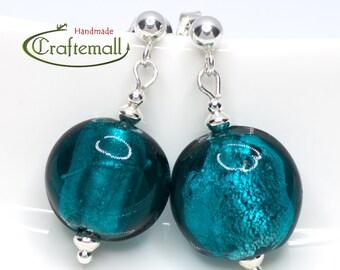 Teal earrings with sterling silver - Venetian Glass earrings