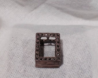 Sterling Silver Bead Marcasite Focal Bead Jewelry Making Crafting