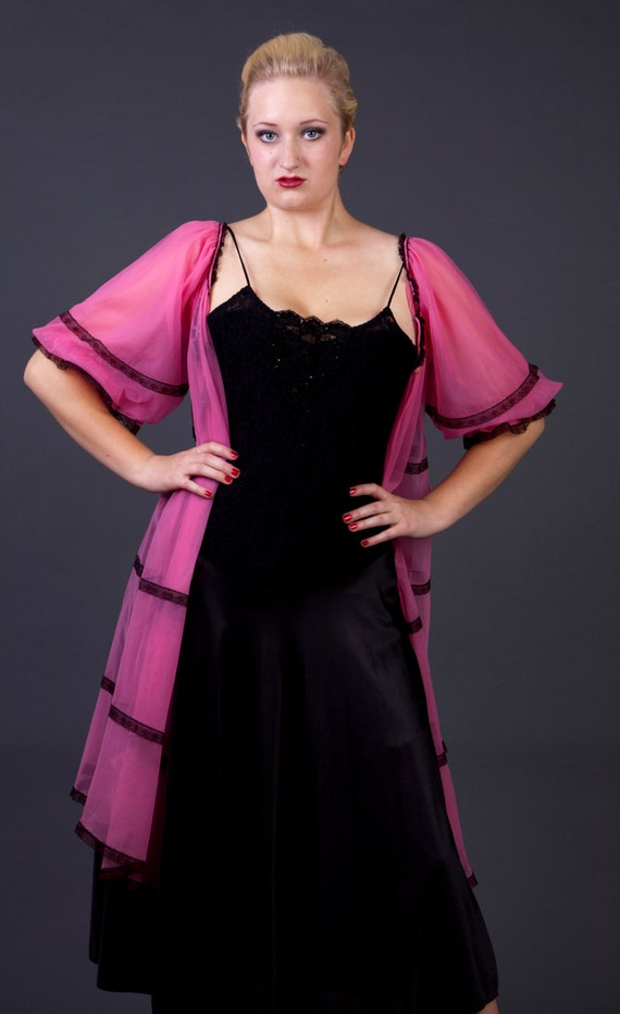 60s peignoir sheer pink robe hot pink lingerie vintage 60s robe