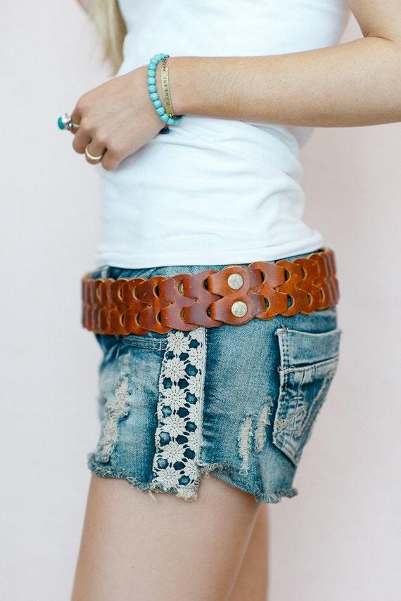 linked leather belt tie on hip belt dress by threebirdnest