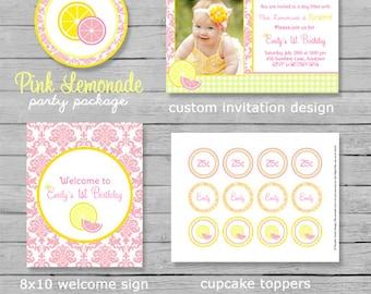 Pink Lemonade Birthday Party Package - Lemonade Birthday - Summer Birthday - Lemonade Party - DIY Printable
