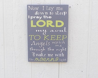 Now I Lay Me Down To Sleep Sign Wood Hand Painted Baby Room Sign