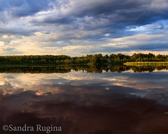 Wide wall art, panorama landscape, 3 photo prints of typical Finnish lake, colors, print to frame, Oulu, Finland, sunset photography
