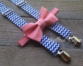 Navy Blue Chevron Suspenders and Salmon Bow Tie - baby navy blue suspender - toddler boys suspenders - wedding-photography  prop -smash cake