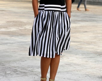 Black and White striped Skirt, Midi Skirt, Nautical skirt