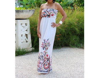 White Summer Dress, Womens Maxi dress, Sundress, Black and red floral accent