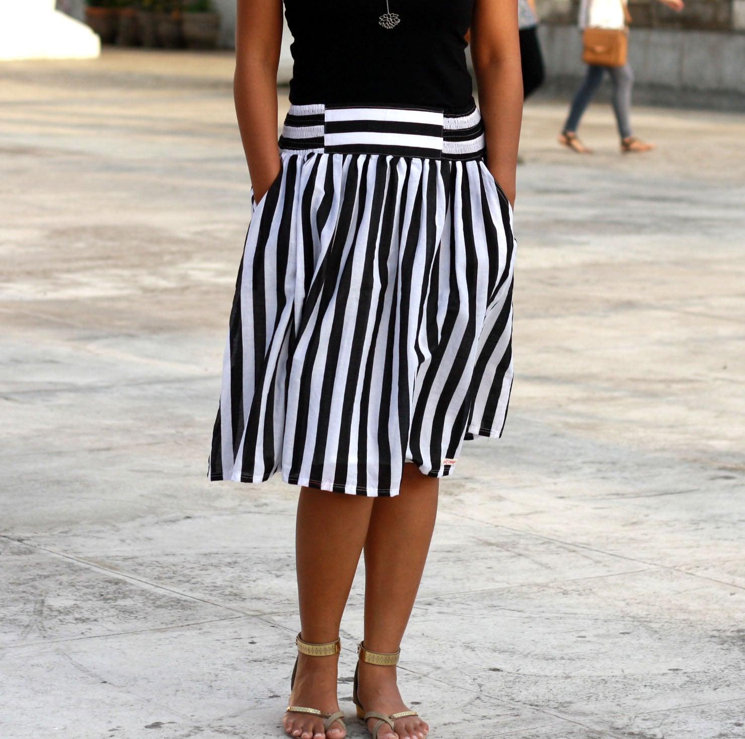 black and white striped skirt midi skirt nautical skirt