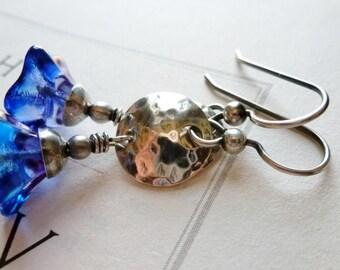 Capri Blue & Amethyst Czech Glass Lily Flower Earrings / Hammered Sterling Silver Charms / SimplyJoli / Mediterranean Blue