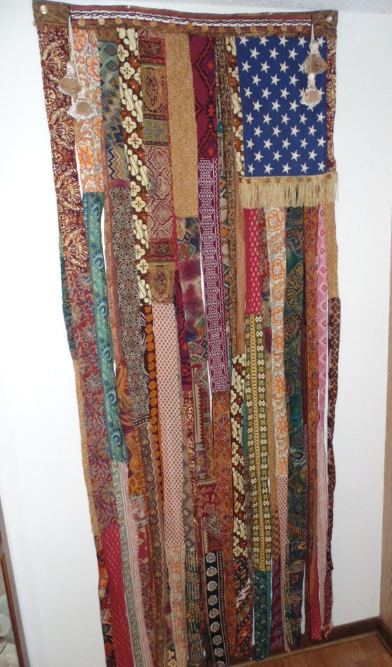 X Large Bohemian Hand Beaded Coin Door Curtain Flag Ethnic