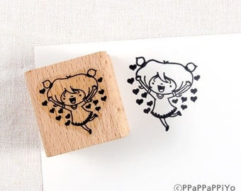 50% OFF SALE Happy girl Rubber Stamp