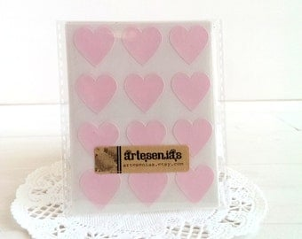 108 Pink heart stickers - 3/4 inch heart stickers - pink hearts envelope seals
